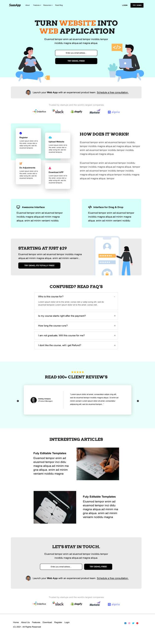 App Saas Landing Page