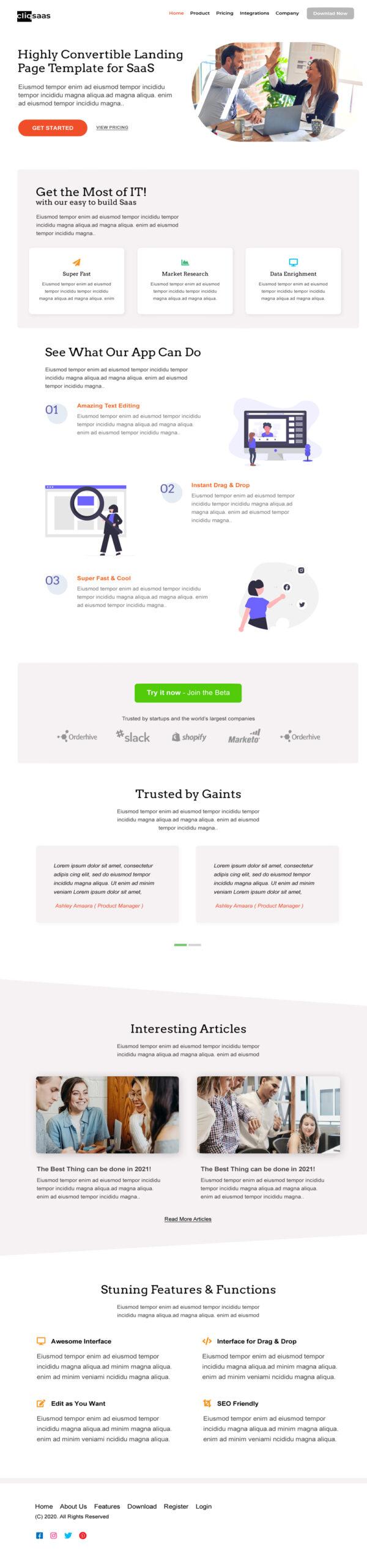 Convertible SaaS Landing Page