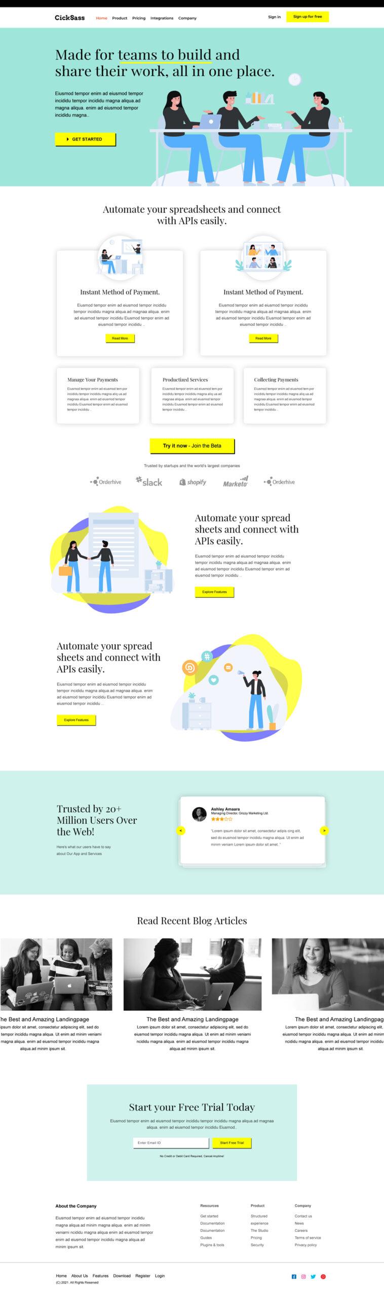 Online Saas Landing Page