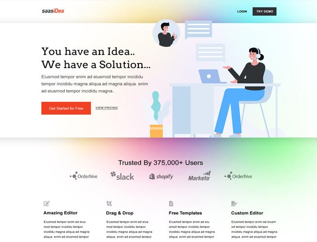 Software Saas Landing Page